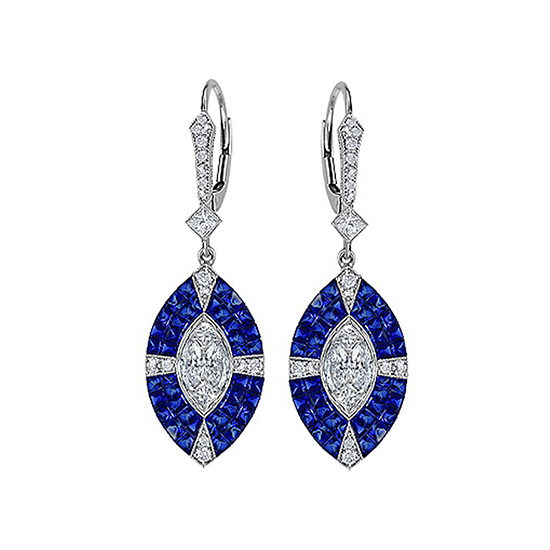 Art Deco Sapphire and Diamond Drop Earrings 18K White Gold