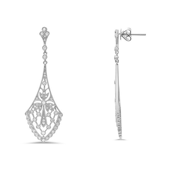 Art Nouveau Style Diamond Earrings 18K White Gold