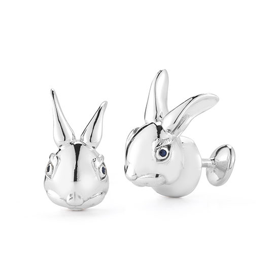 Bunny Rabbit Cufflinks with Sapphire Eyes Sterling Silver | Marisa Perry