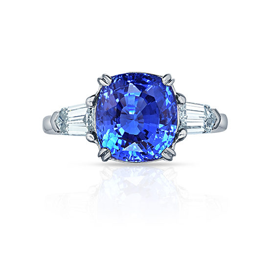 Three Stone Sapphire and Diamond Ring Platinum | Marisa Perry by Douglas Elliott