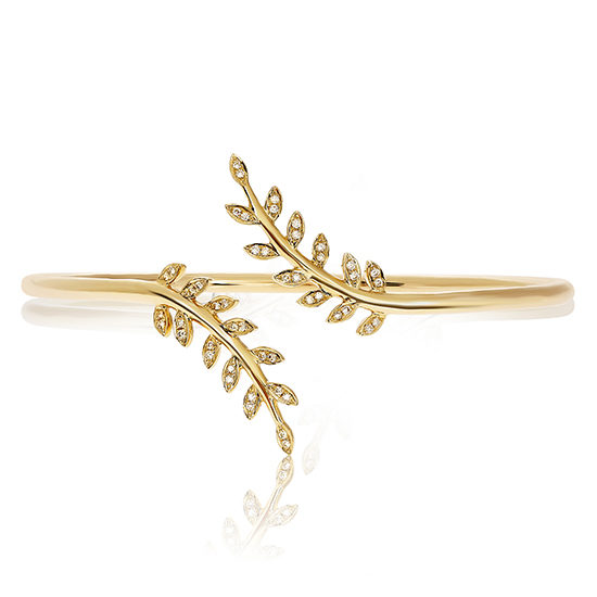Diamond Leaf Bangle 14K Yellow Gold
