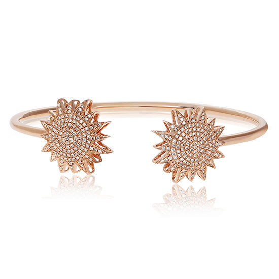 Diamond Starburst Cuff Bangle 14K Rose Gold