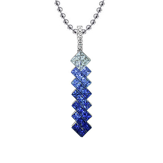 Blue Sapphire and Diamond Drop Pendant Necklace 18K White Gold