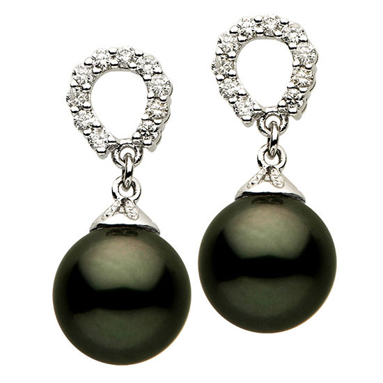 Tahitian Pearl Diamond Earrings 18k White Gold