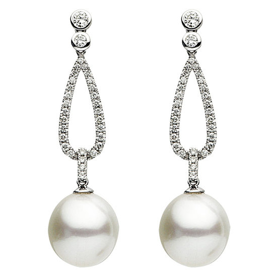 South Sea Pearl Micro Pave Diamond Earrings 18k White Gold