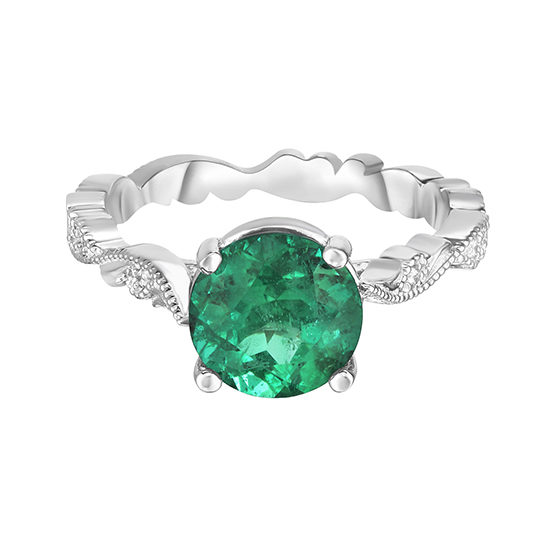 Emerald Chantilly Lace Ring Platinum | Marisa Perry by Douglas Elliott
