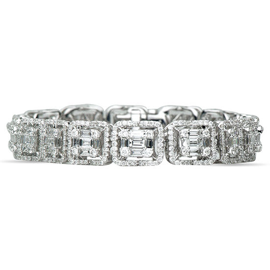 Emerald Cut Baguette Diamond Bracelet 18K White Gold
