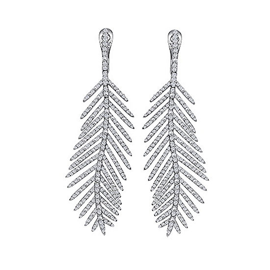 Micro Pave Feather Drop Earrings 18K White Gold
