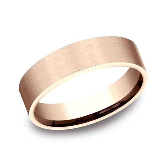 Satin Finish Flat Comfort Fit 14k Rose Gold