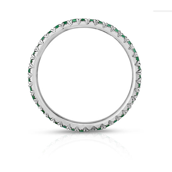 Emerald Micro Pave Eternity Band Platinum | Marisa Perry by Douglas Elliott