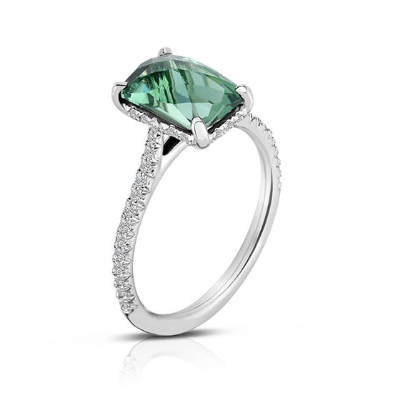 Rose Cut Green Quartz Diamond Micro Pave Ring Platinum | Marisa Perry by Douglas Elliott