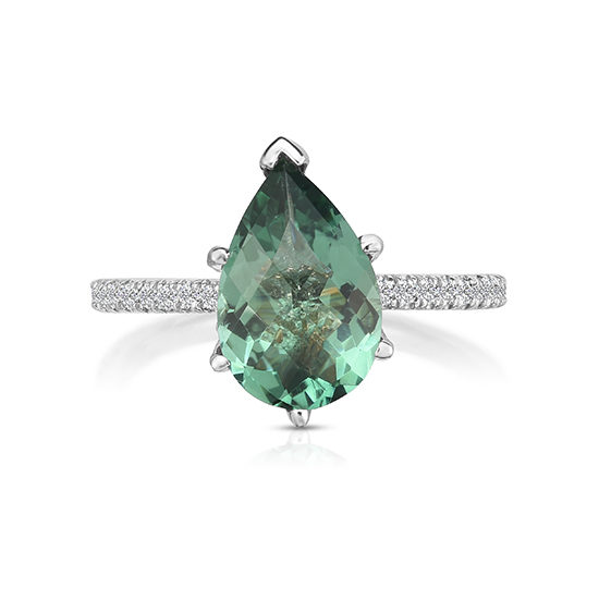 Pear Shaped Green Quartz Micro Pave Ring Platinum | Marisa Perry by Douglas Elliott