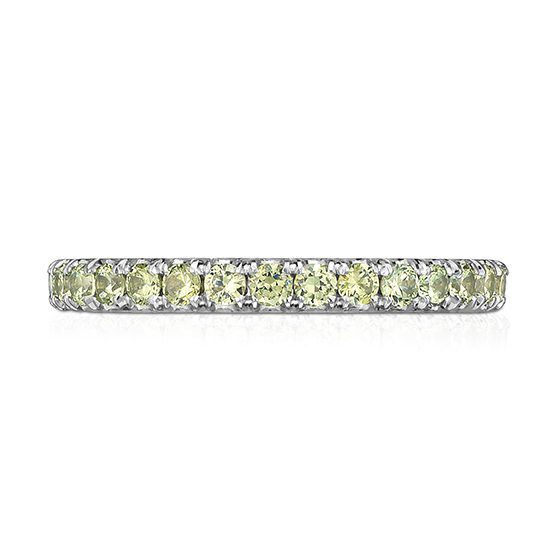 Demantoid Garnet Micro Pave Eternity Band Platinum | Marisa Perry by Douglas Elliott