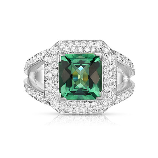 Green Quartz Diamond Ring in Platinum | Marisa Perry by Douglas Elliott