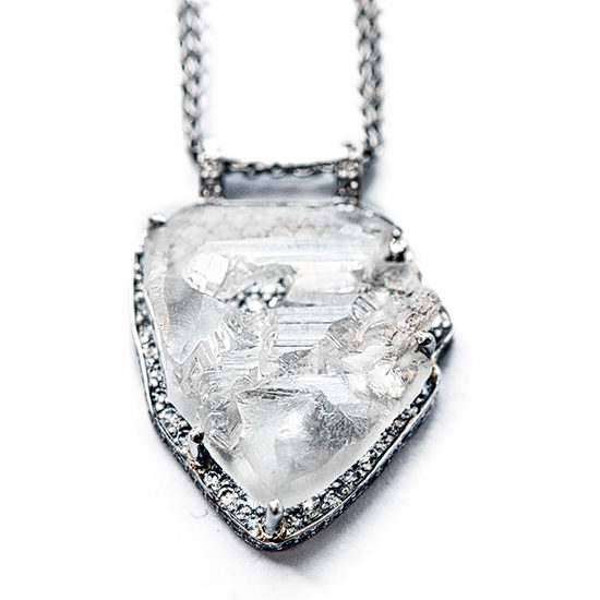 Micro Pave Contemporary Rough Diamond Pendant Platinum | Marisa Perry