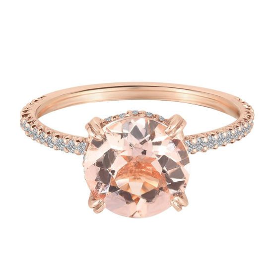 Two Carat Morganite DE Solitaire Engagement Ring With Diamonds 18K Rose Gold | Marisa Perry by Douglas Elliott