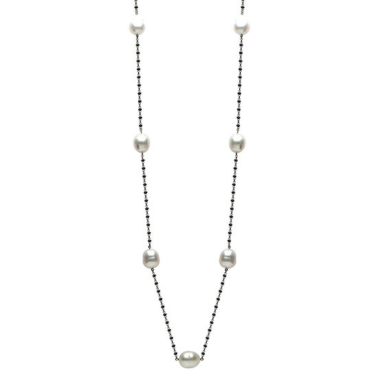 South Sea Pearl Black Spinel Necklace 18K White Gold