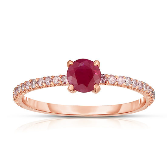 Pink Diamond and Ruby Solitaire Rose Gold | Marisa Perry by Douglas Elliott