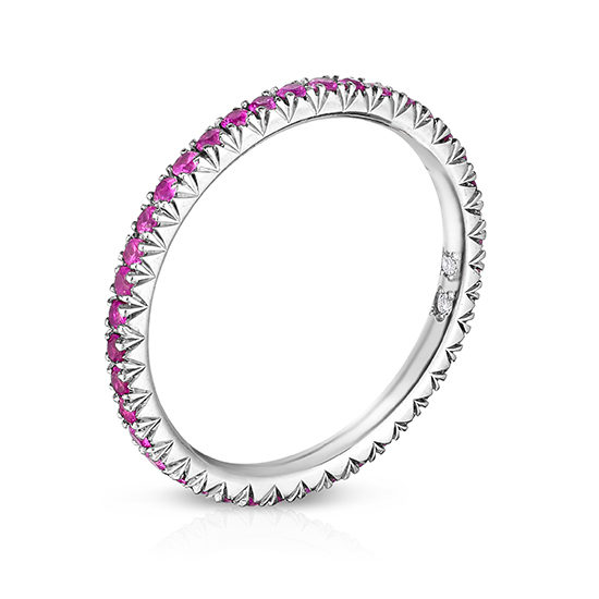 Pink Sapphire Micro Pave Eternity Band Platinum | Marisa Perry by Douglas Elliott