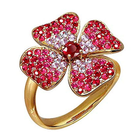 Ruby and Pink Sapphire Flower Ring 18K Yellow Gold