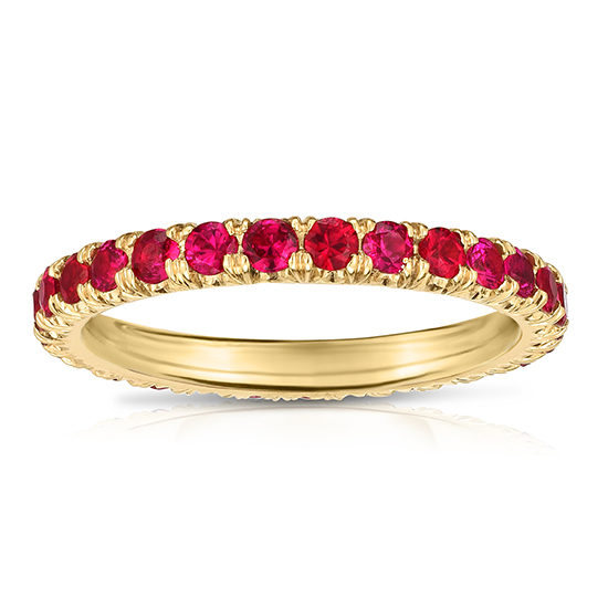 Ruby Micro Pave Eternity Band 18k Yellow Gold | Marisa Perry by Douglas Elliott