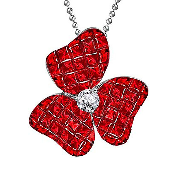 Ruby and Diamond Flower Pendant Necklace 18K White Gold