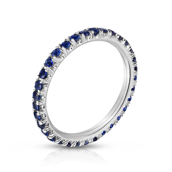 Blue Sapphire Micro Pave Eternity Band Platinum | Marisa Perry by Douglas Elliott