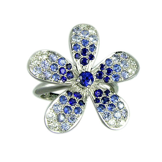 Blue Sapphire and Diamond Flower Ring 18K White Gold