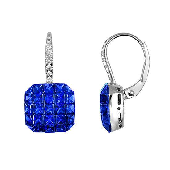 Blue Sapphire and Diamond Drop Earrings White Gold