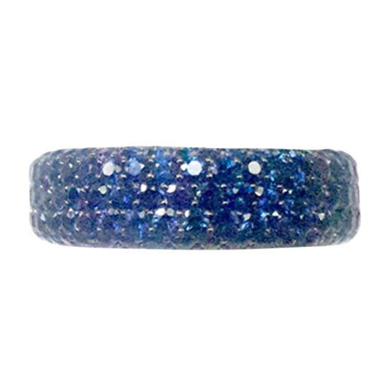 Blue Sapphire Pave Band Ring 18K White Gold