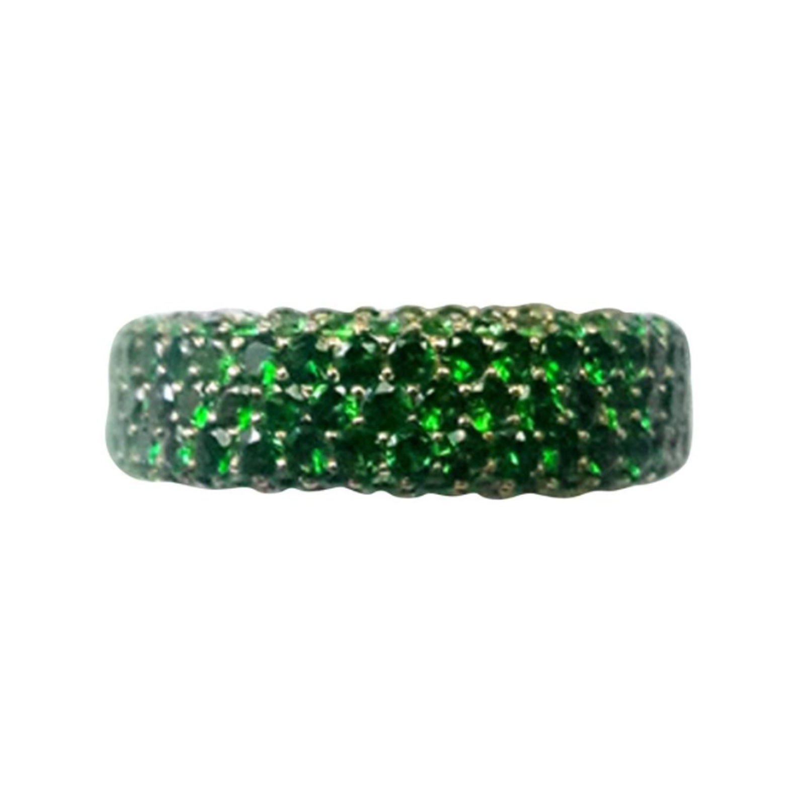 Tsavorite Garnet Pave Band Ring 18K Yellow Gold