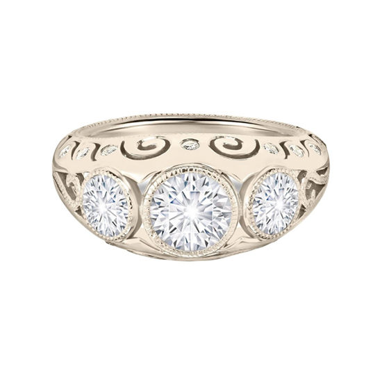 Vintage Vanderbilt Three Stone Diamond Ring 18K White Gold | Marisa Perry by Douglas Elliott