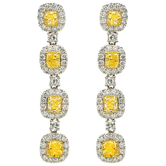 Fancy Yellow Diamond Drop Earrings in Pave 18K White Gold
