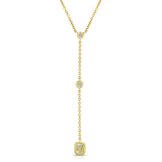 Diamond Drop Necklace 18K Yellow Gold