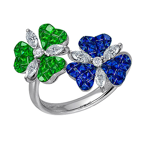 Flower Ring with Invisible Set Blue Sapphires and Tsavorite with Diamonds 18K White Gold