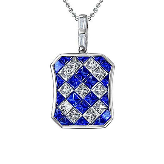 Blue Sapphire Diamond White Gold Invisible Set Pendant Necklace 18K White Gold