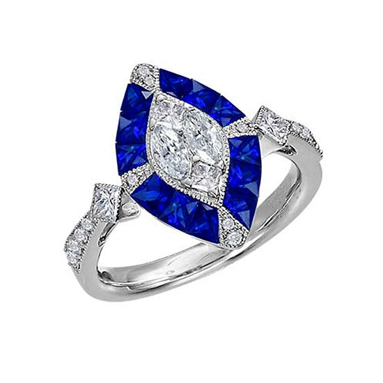 Marquis Shaped Sapphire and Diamond Ring 18K White Gold