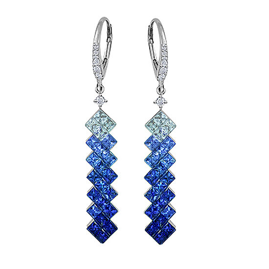 Blue Sapphire and Diamond Drop Earrings 18K White Gold