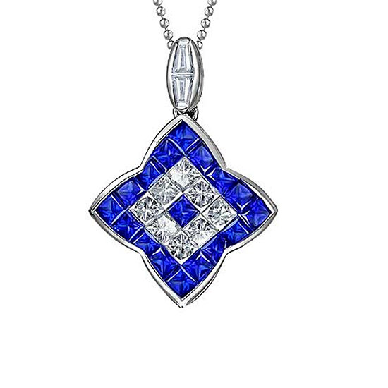 Invisible Set Blue Sapphire and Diamond Pendant Necklace 18K White Gold