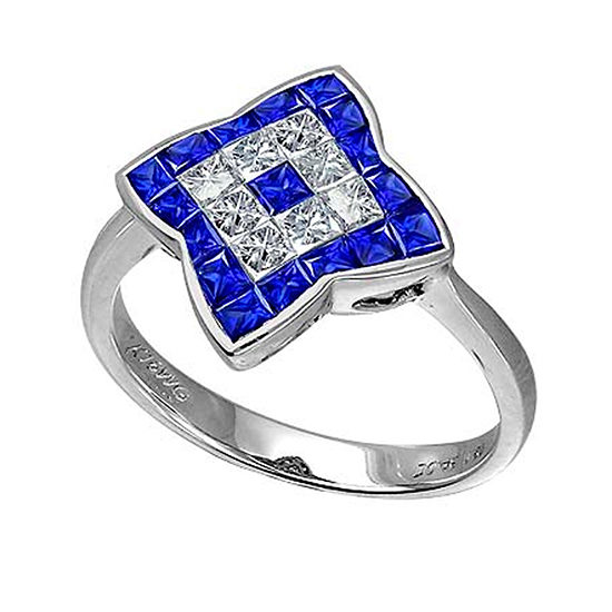 Blue Sapphire and Diamond Clover Ring 18K White Gold