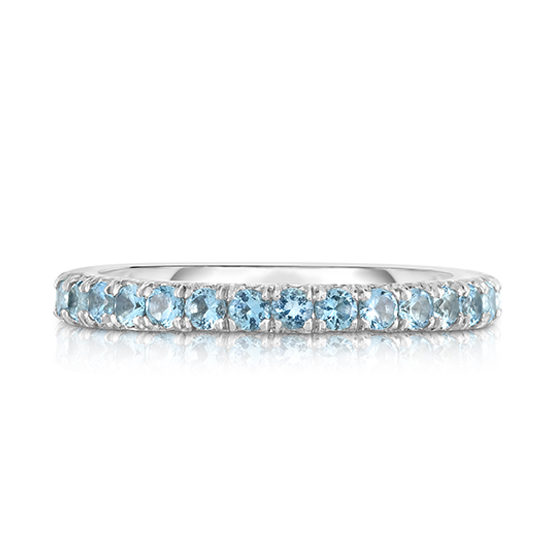Aquamarine Micro Pave Eternity Band Platinum | Marisa Perry by Douglas Elliott