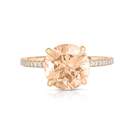 Morganite DE Solitaire with micro pave diamond band 18k rose gold | Marisa Perry by Douglas Elliott