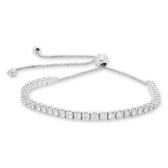 1.92 Carat White Diamond Bolo Tennis Bracelet 14k White Gold