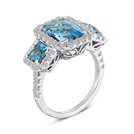 Three Stone Topaz Ring Platinum | Marisa Perry by Douglas Elliott