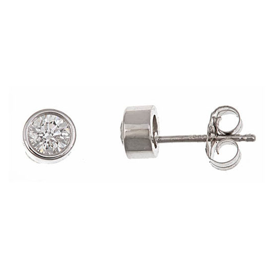Round Diamond Bezel Set Studs 14k White Gold