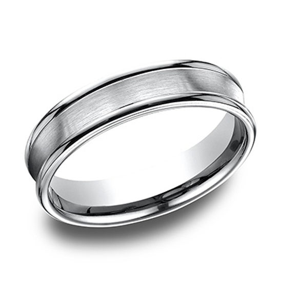 Comfort Fit Satin Finished Band with High Polished Edge Platinum