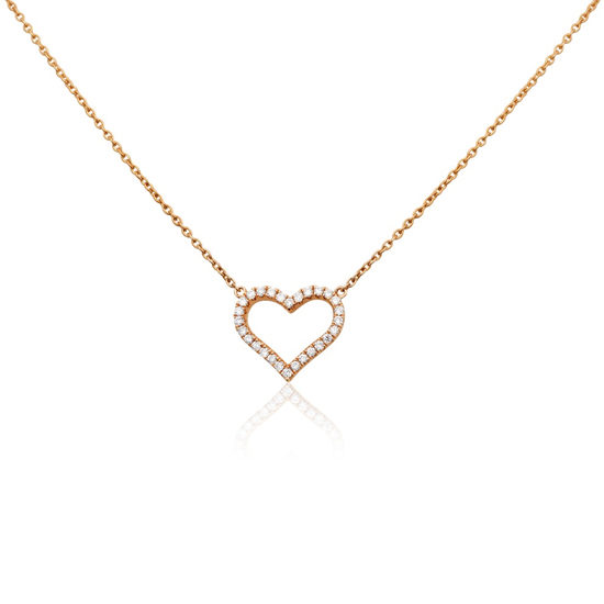 Diamond Heart Necklace 14k Rose Gold
