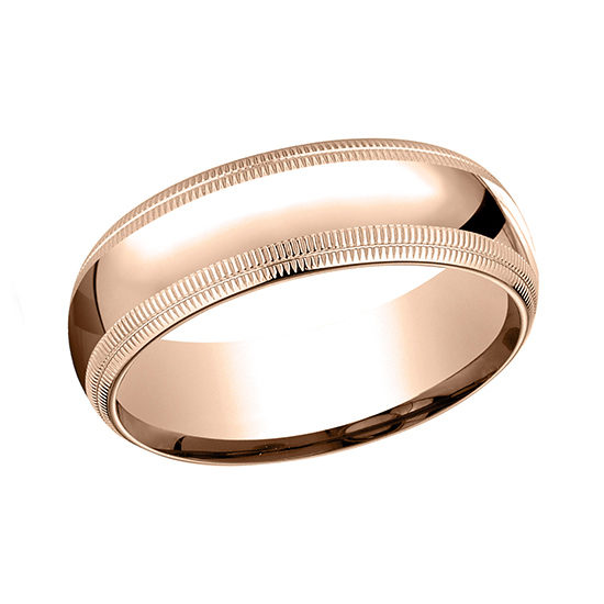 Double Milgrain Comfort Fit Mens Wedding Band 14K Rose Gold
