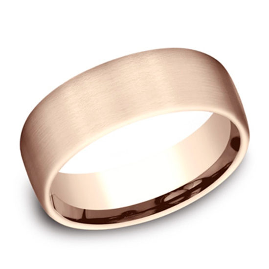 Satin Finish European Comfort Fit Band 14k Rose Gold