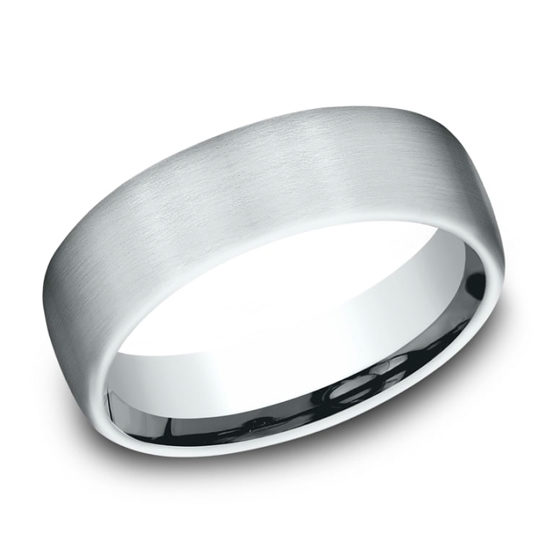 Satin Finish European Comfort Fit Band 18k White Gold